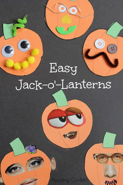 Easy jack o' lantern collage craft for preschoolers to go along with The Bumpy Pumpkin picture book. From Reading Confetti.