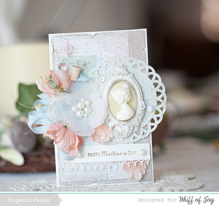 Happy Mother's Day *WOJ* - Scrapbook.com - Cameos, flowers, spools, pins and trim add a very feminine touch to this beautiful Mother's Day card.