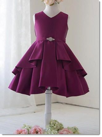 Courtney - Adorable Satin Dress with a removable brooch, zipper closer with rear sash to ensure a perfect fit. Available in Black, Royal, Wine or White Sizes 4-6-8-10-12 only