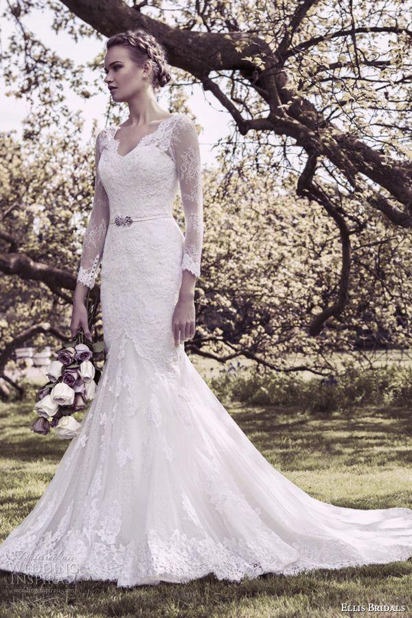 ellis bridal 2015 wedding dress v neckline long lace sleeves fit flare mermaid gown style 11412