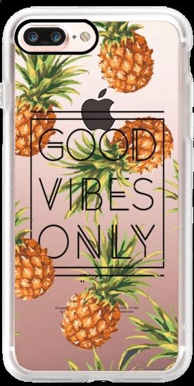 Phone Cases - Casetify iPhone 7 Plus Case and other Pineapple iPhone Covers - Good Vibes Only Tropical Pineapples by Samantha Ranlet | Casetify