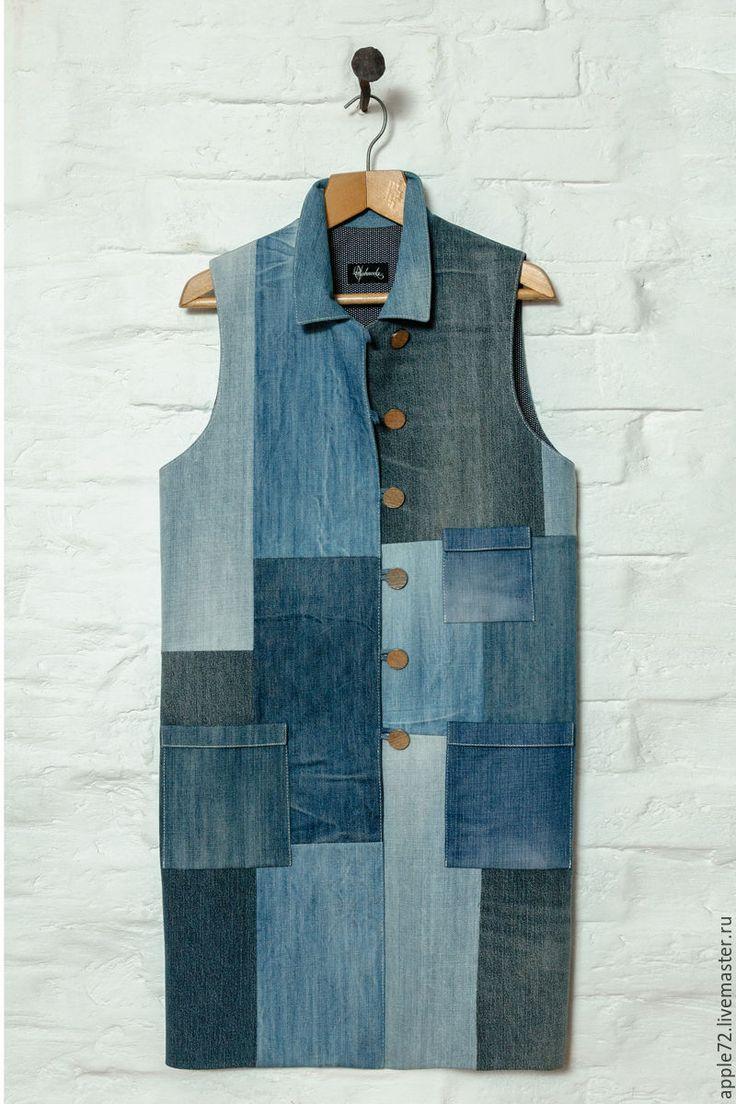 Купить жилет джинсовый - авторская ручная работа, хендмейд, хлопок