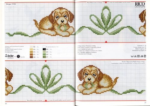 12 χαριτωμένα σχέδια με σκυλιά και κουτάβια για σταυροβελονιά   12 lovely cross stitch patterns of dogs and puppies   10   πηγή /  sour...