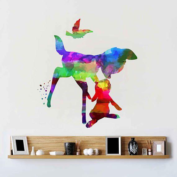 kcik2105 Full Color Wall decal Watercolor Bambi Character