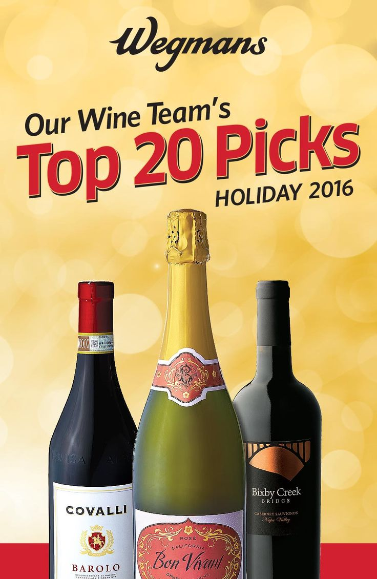 Check out Wegmans wine team's Top 20 highly-rated picks for the holiday season!