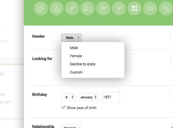 Google Plus Gender update adds custom option