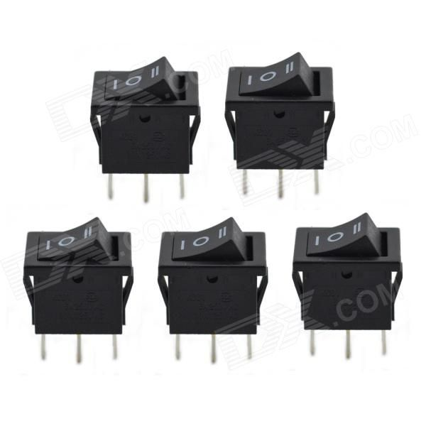 MaiTech 3-pin 3 Files Rocker Switches - Black (5PCS). Opening 13mm x 19mm; Rated voltage / current: 6A 250V AC/10A 125V AC; Contact resistance: ≤ 50mohm; Insulation resistance: ≥ 100mohm; Dielectric strength: ≥ 1500V AC / min (50Hz); Electrical life: ≥ 10000 Cycle. Tags: #Electrical #Tools #Switches #Adapters
