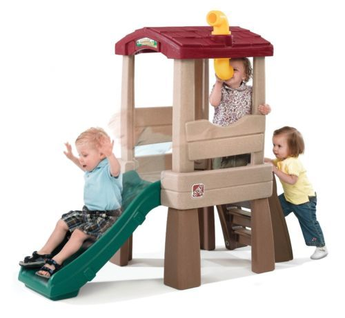 Outdoor playset slide Step2 Naturally Playful Lookout Treehouse
