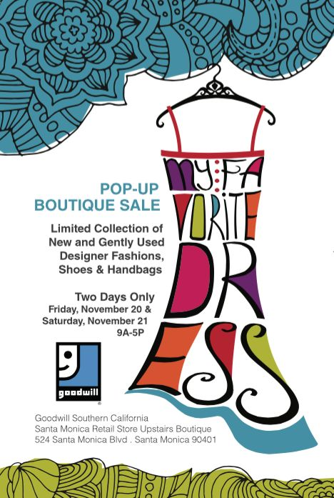 Back by popular demand! It's our Pop-Up Designer Boutique, this time featuring shoes and handbags! ONLY at the Goodwill Southern California Santa Monica Retail Store - Upstairs Boutique on Friday, November 20th & Saturday, November 21st from 9AM - 5PM. Join us at 524 Santa Monica Blvd, Santa Monica, 90401 and snag some amazing accessories!