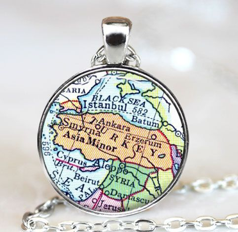 Turkey Map Necklace Istanbul Black Sea by TheBlueBlackMonkey, $9.00