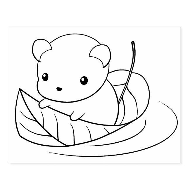 Cute Little Mouse Floating On A Leaf Coloring Page Rubber Stamp Zazzle Com In 2020 Leaf Coloring Page Animal Coloring Pages Disney Coloring Pages