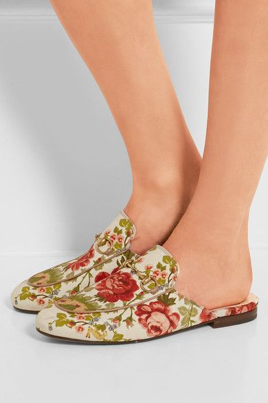 Gucci for NET-A-PORTER - Horsebit-detailed Floral-print Canvas Slippers - Off-white - IT38.5