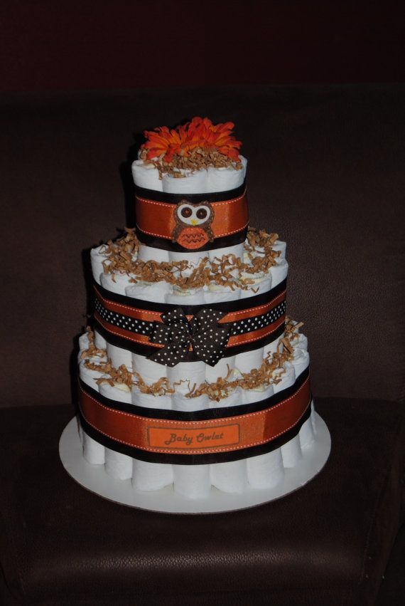 orange and brown owl fall diaper cake by ericajmoore on etsy