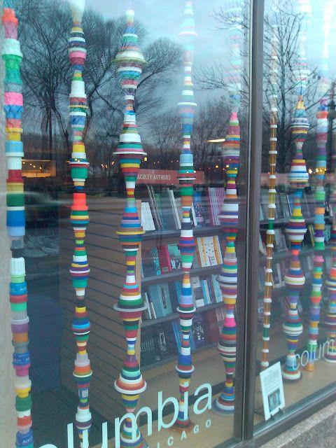 Make a Brancusi-esque colorful column from your plastic lids.