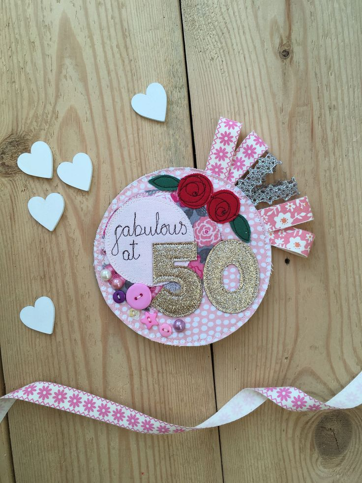 Birthday Badge, Fiftieth Birthday, Fabulous at 50, 50th Birthday Badge, Birthday Rosette, Birthday Brooch, Birthday Pin, 50th Party by KatiesShed on Etsy