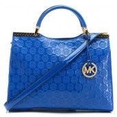MICHAEL Michael Kors Blue Monogram Bag Gold Hardware