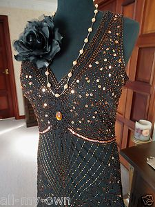 Gorgeous Black Evening Dress beaded sequins 20s Flapper Gatsby style size 18/20