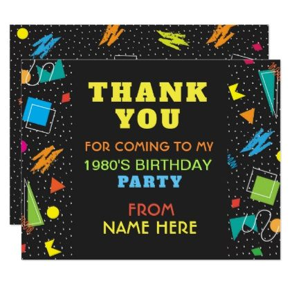 Birthday Party Thank You 1980's Eighties 80s Card - invitations personalize custom special event invitation idea style party card cards