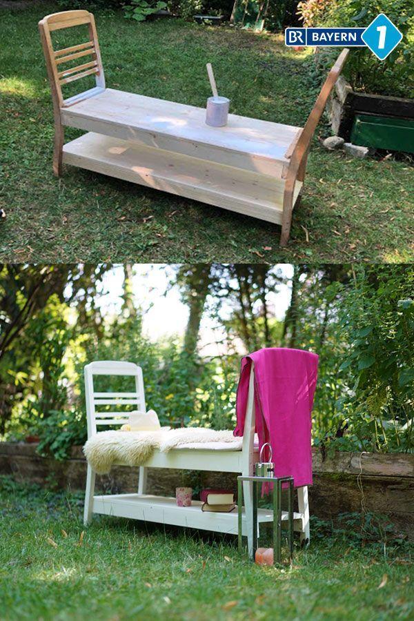 Zwei Alte Stuhle Ein Paar Schrauben Farbe Fertig Ist Die Upcycling Gartenbank Diy Bank Diy Clothes Rack Upcycled Home Decor