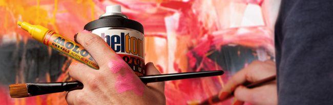 MOLOTOW is een geweldig mooi merk waarvan wij verschillende producten hebben. Wij hebben bijvoorbeeld de Molotow Premium Artist Line. Zeer dekkende, permanente verf. Minimale verstuiving. Geschikt voor alle weersomstandigheden. Alle kleuren zijn bestelbaar, ons kleurenassortiment staat in de kleurkaart. verkrijgbaar op http://www.harolds.nl/p/verf/spuitbussen/molotow_1