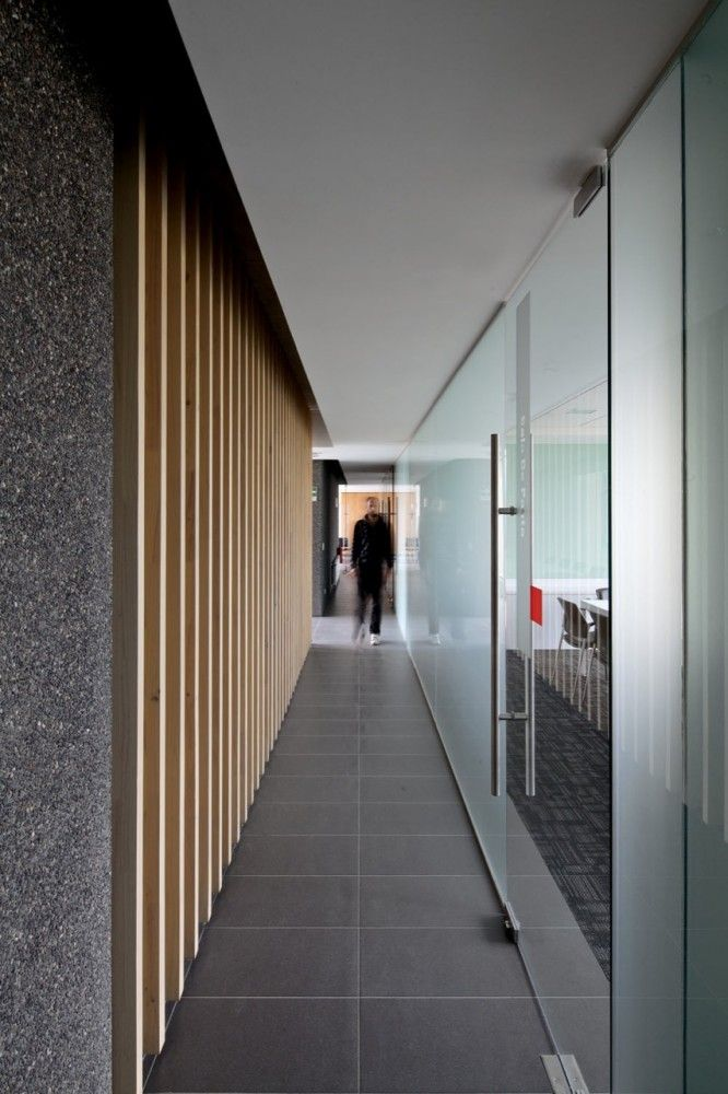 timber fins, glass doors