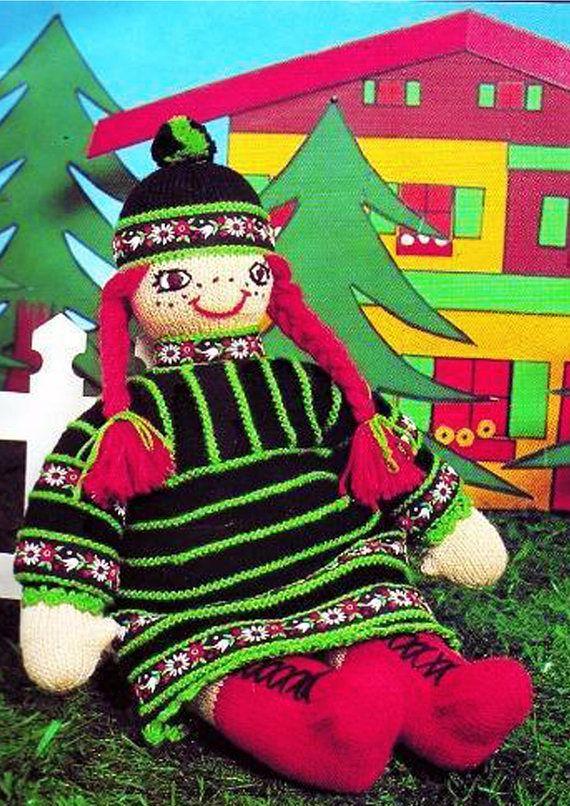PDF Vintage Giant Rag Doll Toy Knitting Pattern FOLK 1970s