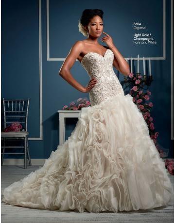 classic organza Mermaid svatební svatební šaty