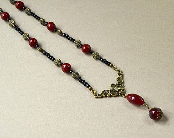 Antique Bronze Victorian Dark Red Y Necklace Downton Beaded Black Edwardian Style Fashion Jewelry Connector Piece Jewellery Free Shipping
