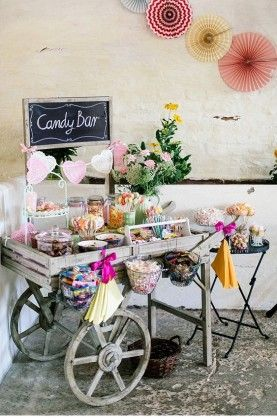 rustic garden candy bar decor ideas