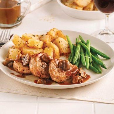Médaillons de porc, sauce champignons, marsala et poivre - Soupers de semaine - Recettes 5-15 - Recettes express 5/15 - Pratico Pratique