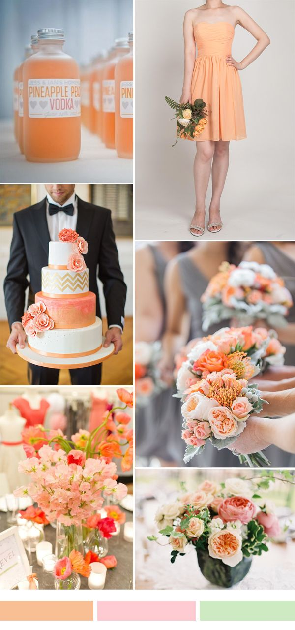 peach orange wedding color ideas and bridesmaid dresses for fall wedding 2015