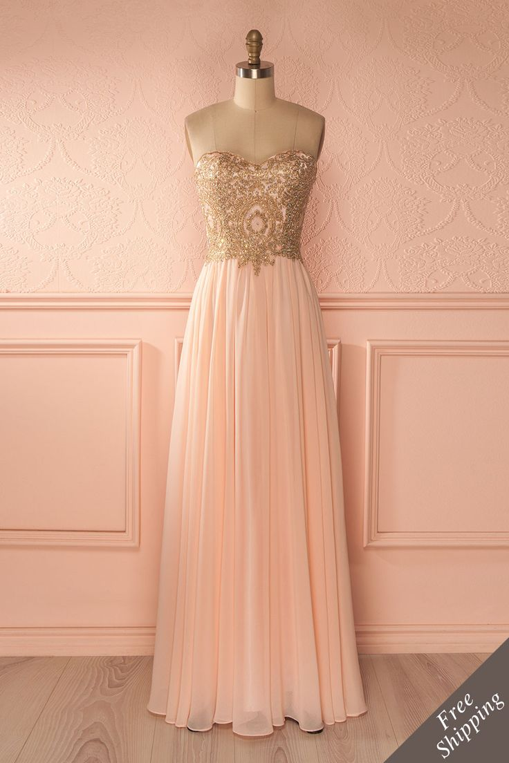 Robe de bal longue rose clair buste brodé de cristaux - Light pink crystals embroidered bust prom dress