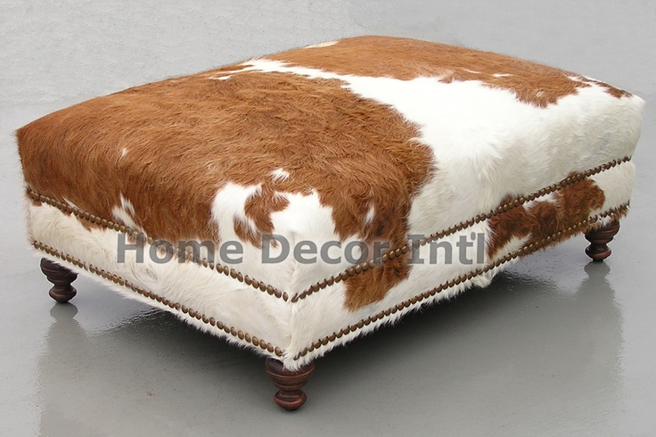 Brown And White Custom Cowhide Ottoman With Gold Nailhead