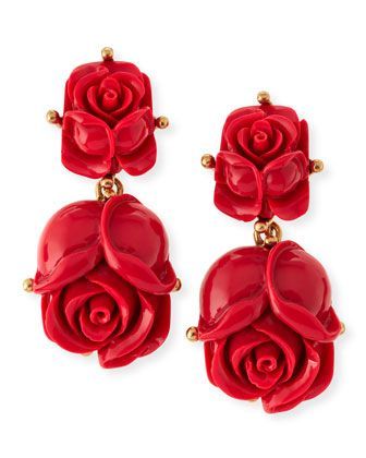 Shop now: Oscar de la Renta Double-Rose Earrings