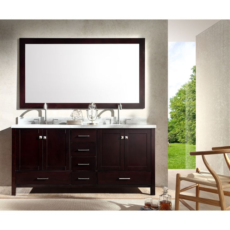 ARIEL Cambridge 73 Inch Double Sink Espresso Vanity Set By Ariel