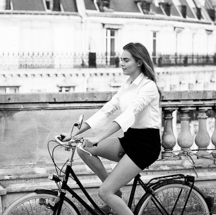 Cara Delevinge's smart bicycle look