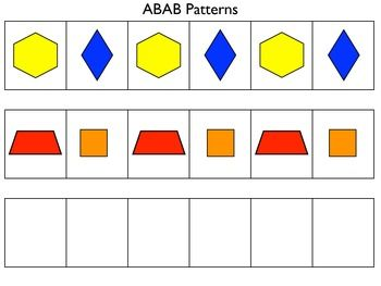 Patterning mats for AB, ABB, and ABC patterns - includes sets for unifix cubes and pattern blocks