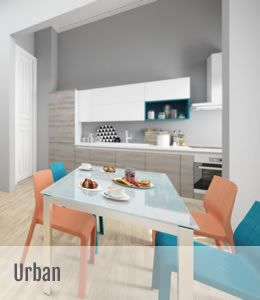 Urban & Urban Minimal – design creat de Vuesse (Departamentul de cercetare si inovatie Scavolini)  Bucatarie moderna si practica  O gama care raspunde perfect constrangerilor de buget, fara a face rabat de la calitate.