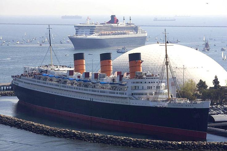 Queen Mary and Queen Mary 2. The old Queen meets the new Queen.