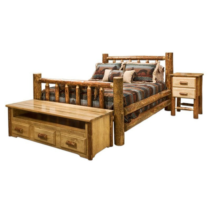 log rustic furniture amish. Amish Glacier Country Log Queen Bed - #LogFurniture #BedroomSet Rustic Furniture D