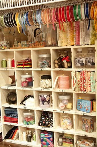 sewing room! Look at that ribbon storage!