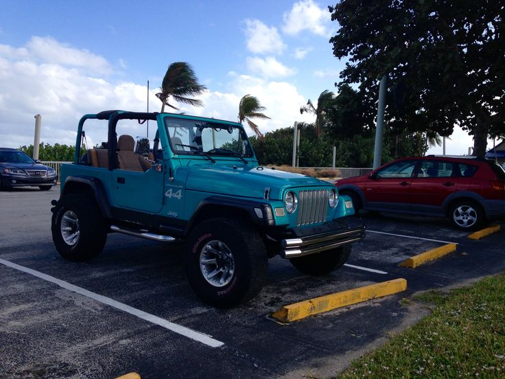 Teal Jeep Wrangler TJ. Old school chrome. Bright Jade Metalic