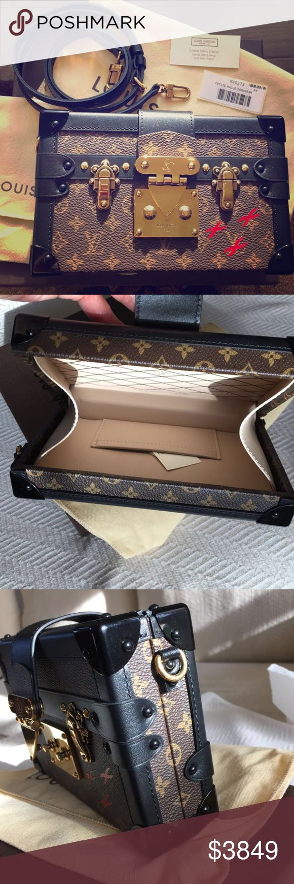 Louis Vuitton Petite Malle Monogram Clutch Bag Authentic Louis Vuitton Petite Malle  Monogram  Condition: 9.7 out of 10 with 10 being brand new  Comes with the box, dust bag, tags, ribbon, receipt, strap.   This was bought in December 2015  A truly iconic Louis Vuitton piece  Eye catching clutch   It can be used as a cross body bag  Very fashionable and can be used both day and night  A statement piece of luxury   I accept reasonable offers  This is priced very reasonably  Retails $5,200…