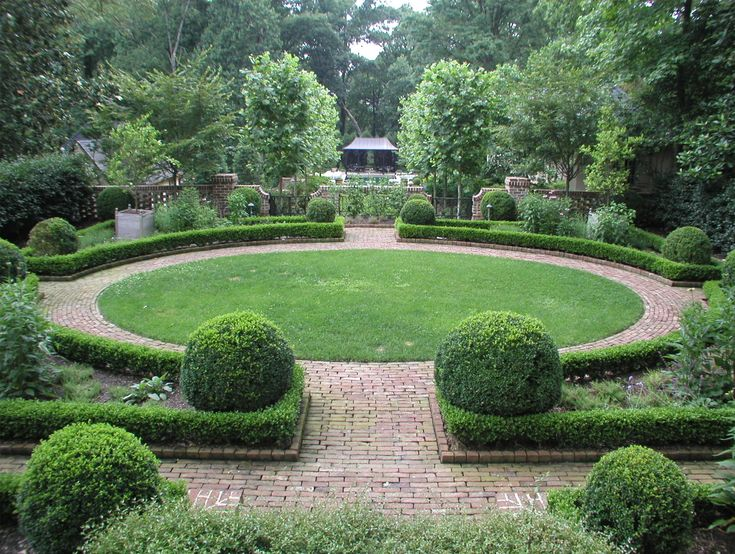 Formal Garden With Circular Lawn Center