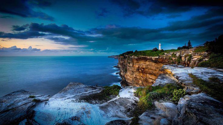 Скачать обои тучи, Австралия, маяк, океан, Сидней, скалы, обрыв, раздел пейзажи в разрешении 1920x1080