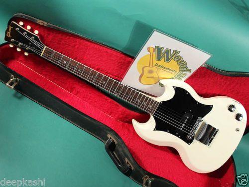 GIBSON-SG-JR-WHITE-1967-EX-W-Original-Soft-Shell-Case-Electric-guitar