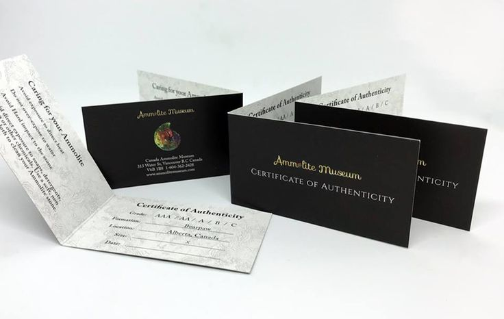 Folding cards are a great way to include a lot of information on a card that doesn't take up much space.Small enough for clients to save, but large enough to fit all your info, like these Certificate of Authenticity cards for Ammolite Museum Canada.  #businesscards #bcards #foldingbusinesscards