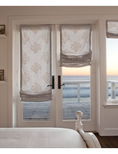Sliding Glass Door Shutters Relaxed Fabric Roman Shades Perfect For That Casual Beach Front Home