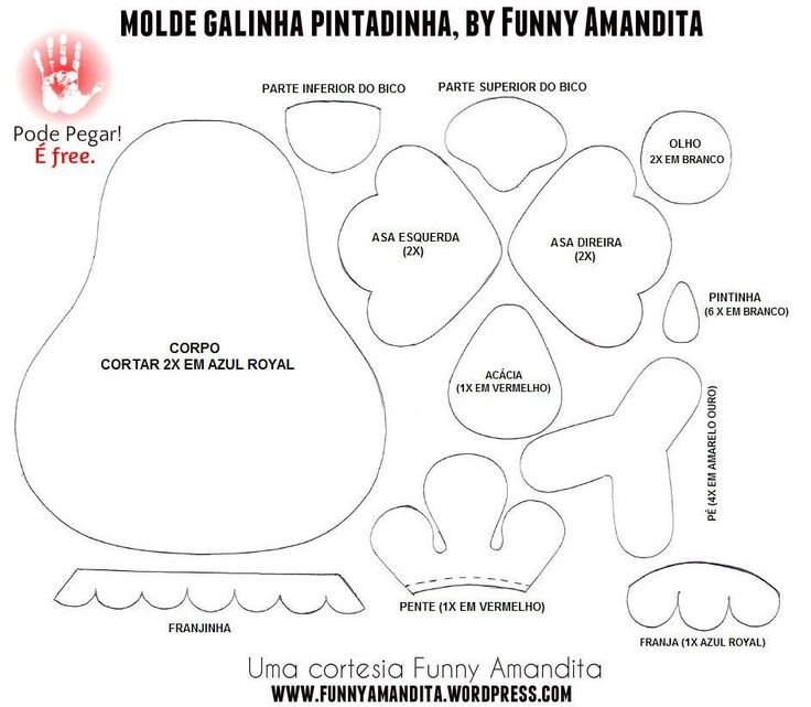 Moldes para Feltro: Galinha Pintadinha