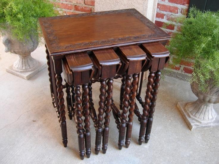 SET Antique ENGLISH Carved Oak BARLEY TWIST Drop Leaf Wine Lamp Nesting  TABLE | EBay $2300